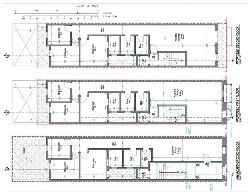 R3 - 004 - PROPOSED GROUND FLOOR, FIRST FLOOR & SECOND FLOOR-page-0
