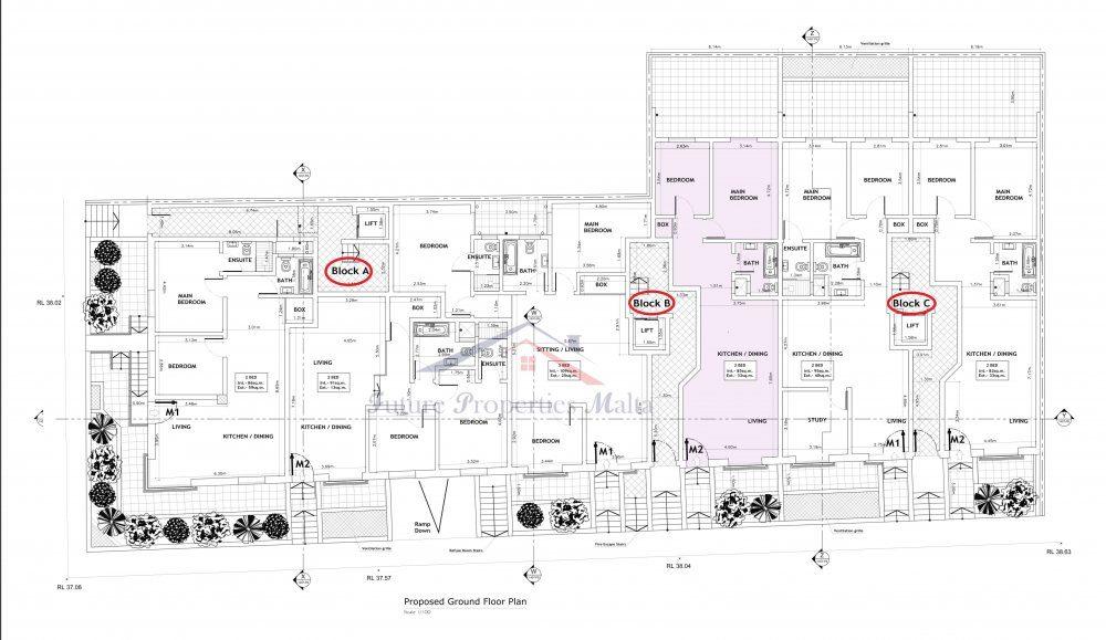 Ground Floor Plan Blook B - M2