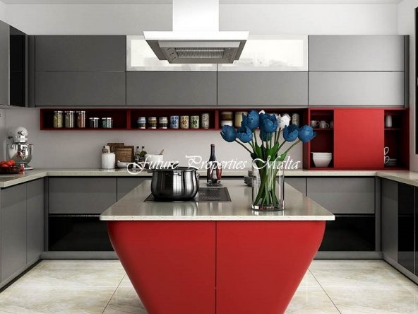 Modern-Gray-and-Red-Matte-Lacquer-Kitchen-Cabinet-OP15-L38 (3)